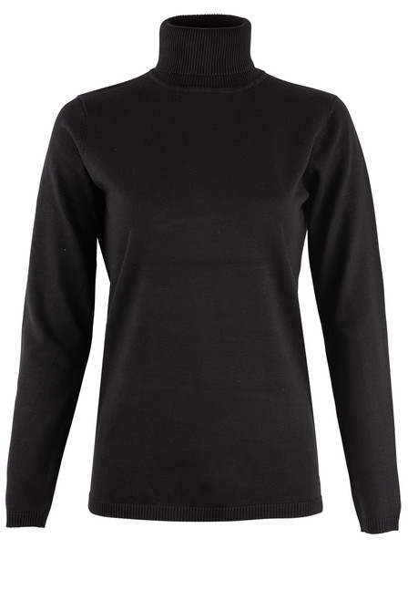 Metric Long Sleeve Turtleneck Sweater - Black Front