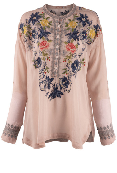 Johnny Was Odette Blouse - Dusty Pink Front