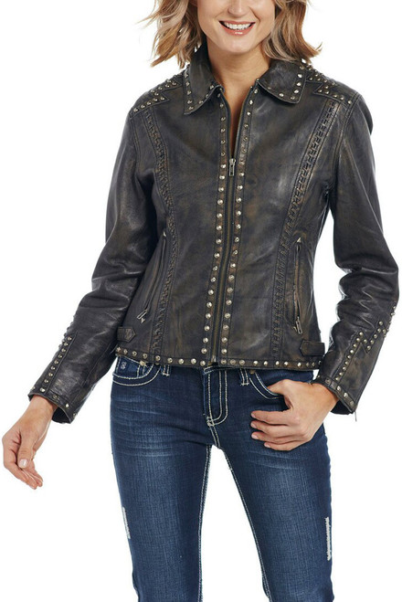 Cripple Creek Hand Laced & Studded Leather Jacket - Lifestyle Front