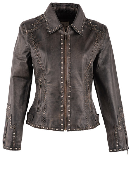 Cripple Creek Hand Laced & Studded Leather Jacket - Front