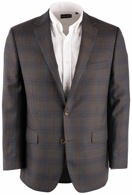Pinto Ranch Brown & Olive Plaid Western Sport Coat - Front