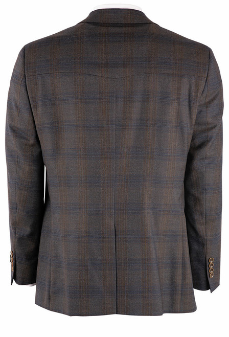 Pinto Ranch Brown & Olive Plaid Western Sport Coat - Back
