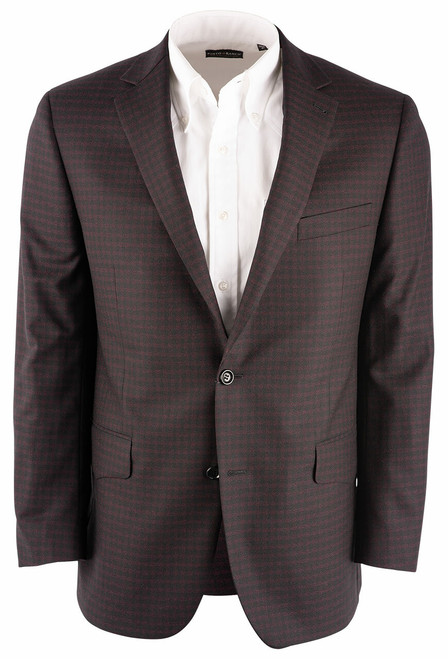Pinto Ranch Burgundy & Black Check Western Sport Coat - Front