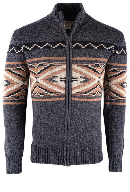 Stetson Aztec Grey Zip Cardigan Sweater - Front