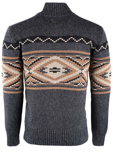 Stetson Aztec Grey Zip Cardigan Sweater - Back