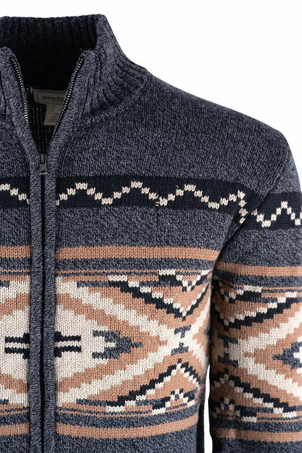 Stetson Aztec Grey Zip Cardigan Sweater - Close