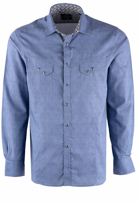 Pinto Ranch YY Collection Blue Snap Shirt - Front