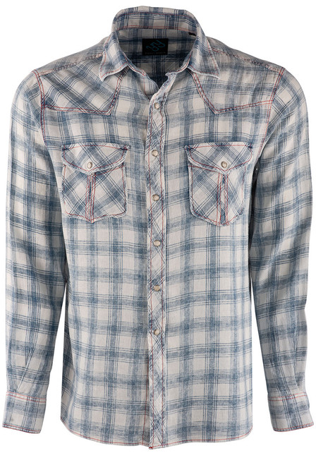 Pinto Ranch YY Collection White & Blue Washed Plaid Snap Shirt - Front