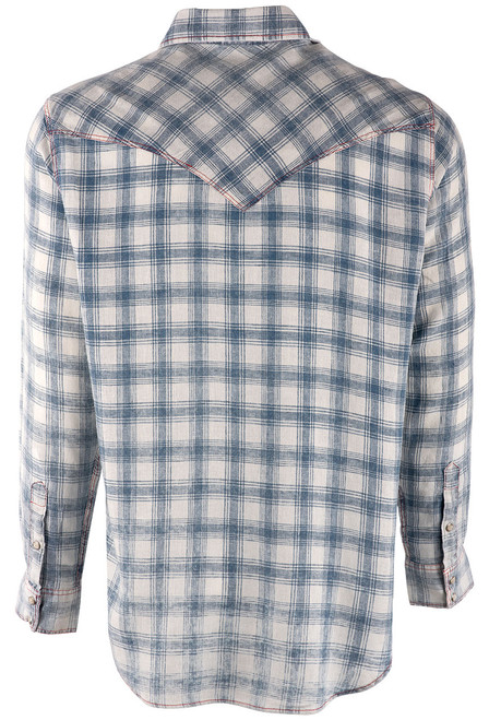 Pinto Ranch YY Collection White & Blue Washed Plaid Snap Shirt -Back
