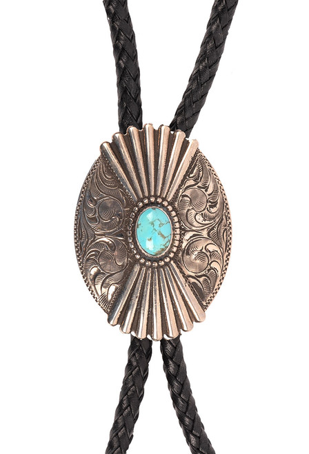 Pinto Ranch Fluted Oval Engraved Bolo Tie