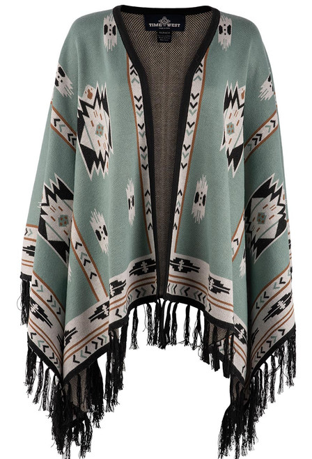 Time of the West Long Alpaca Cape - Green/Black - Front