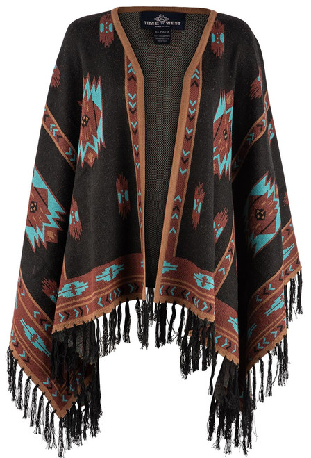 Time of the West Long Alpaca Cape - Black/Turquoise/Copper