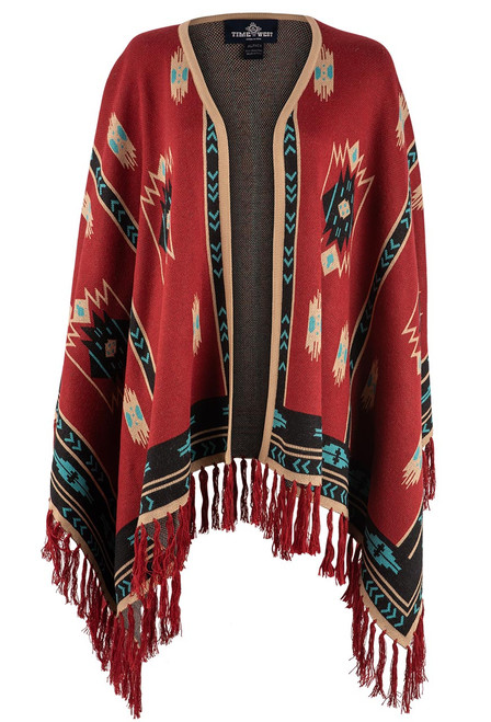 Time of the West Long Alpaca Cape - Red/Turquoise