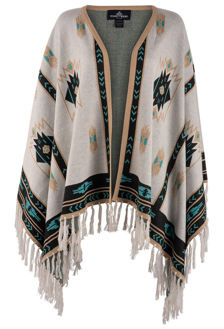 Time of the West Long Alpaca Cape - White/Turquoise