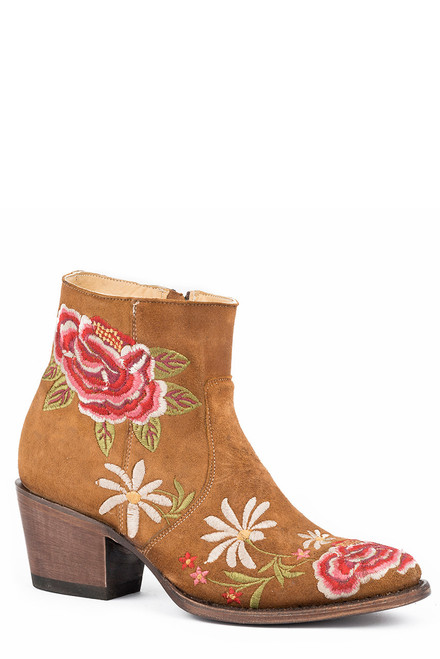 Stetson Frankie Brown Suede Embroidered Booties
