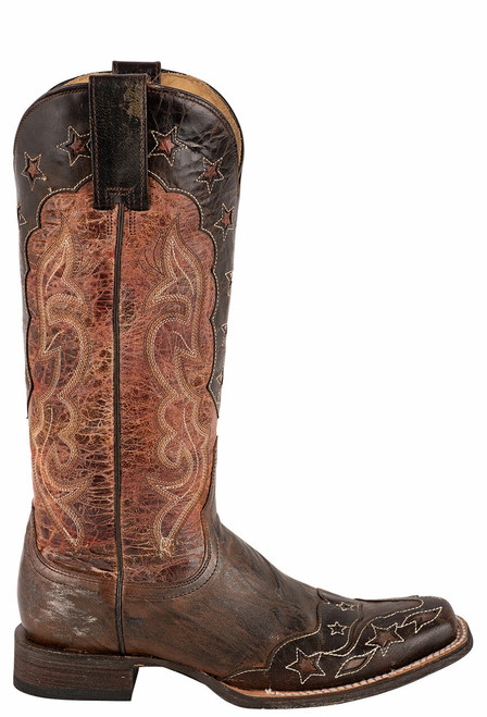 Stetson Women's Loyal Cognac and Chocolate Wingtip Boots