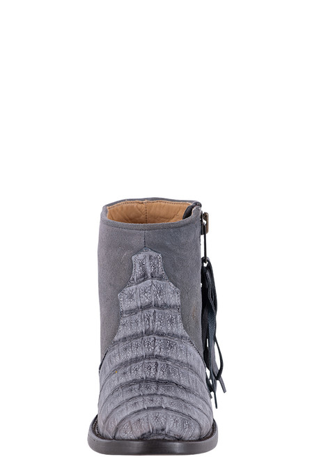 Stetson Women's Paris Grey Suede and Caiman Crocodile Booties - Front