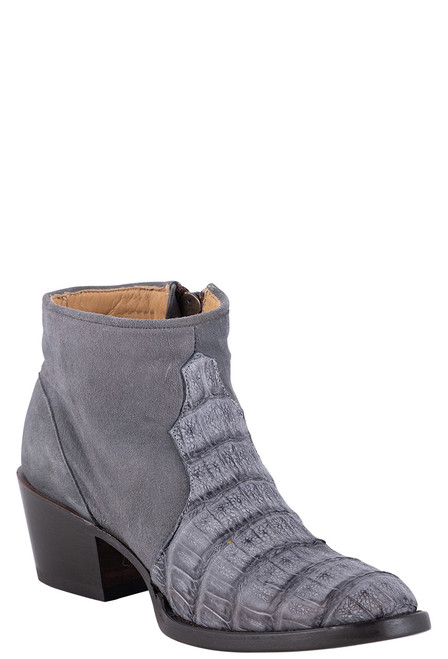 Stetson Women's Paris Grey Suede and Caiman Crocodile Booties