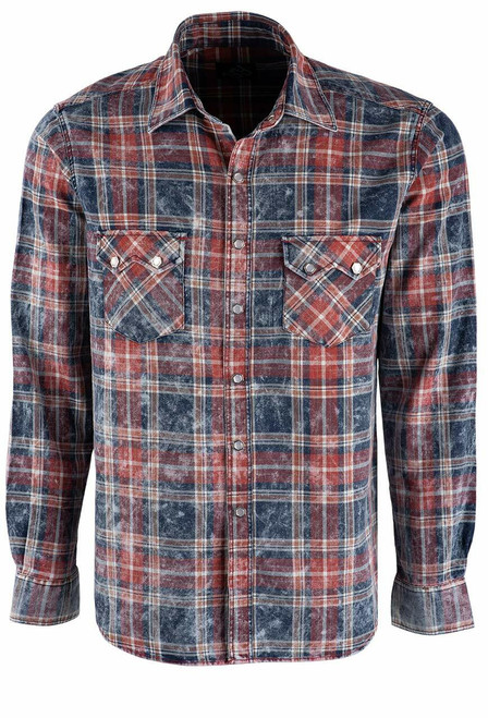 Pinto Ranch YY Collection Red, White & Blue Washed Plaid Shirt - Front