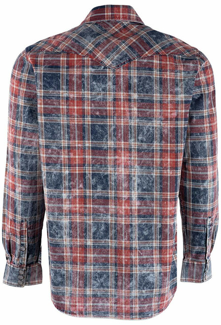Pinto Ranch YY Collection Red, White & Blue Washed Plaid Shirt - Back