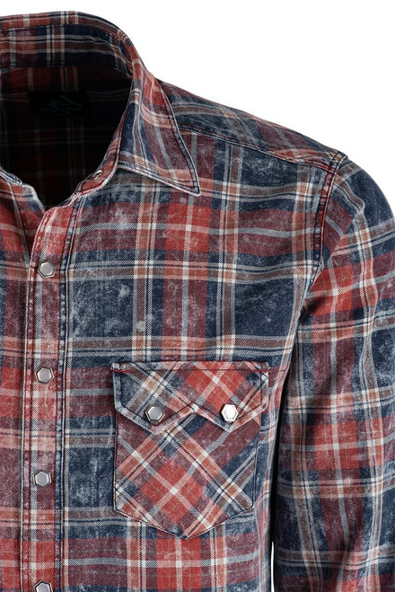 Pinto Ranch YY Collection Red, White & Blue Washed Plaid Shirt