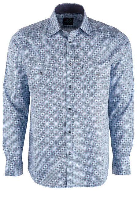 Pinto Ranch YY Collection Blue & Berry Foulard Snap Shirt - Front