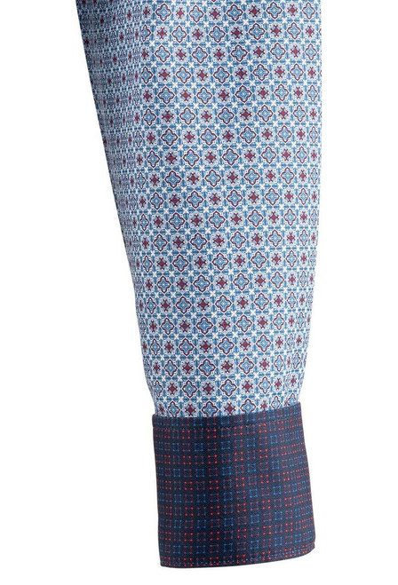 Pinto Ranch YY Collection Blue & Berry Foulard Snap Shirt - Cuff