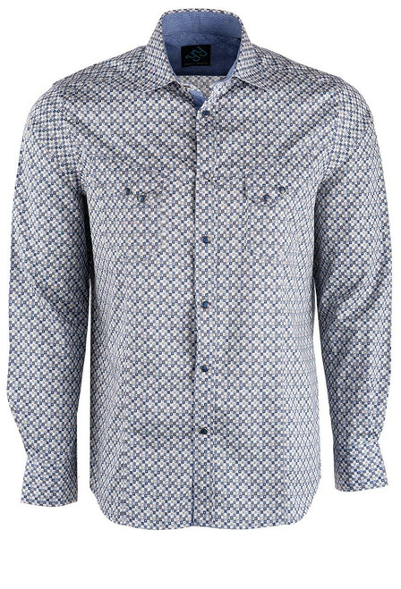Pinto Ranch YY Collection Blue and Tan Block Jett Snap Shirt - Front