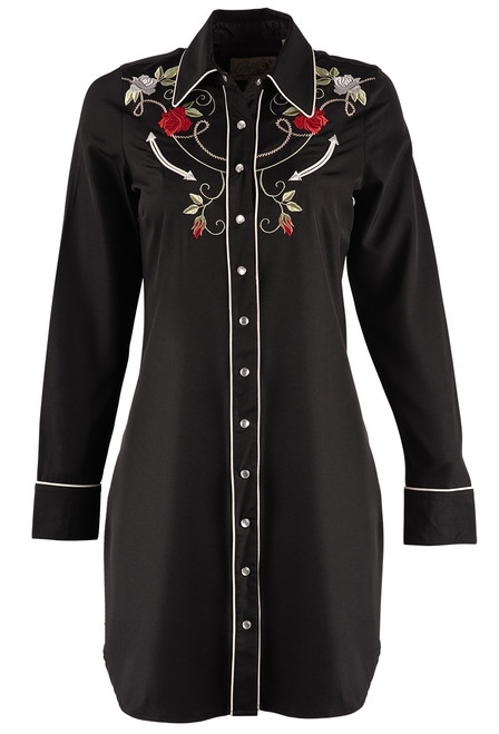 Roper Long Sleeve Embroidered Shirt Dress - Front