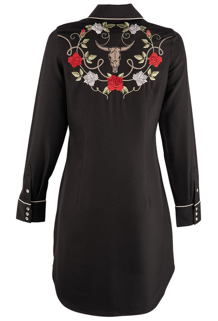 Stetson Apparel Long Sleeve Embroidered Shirt Dress - Back