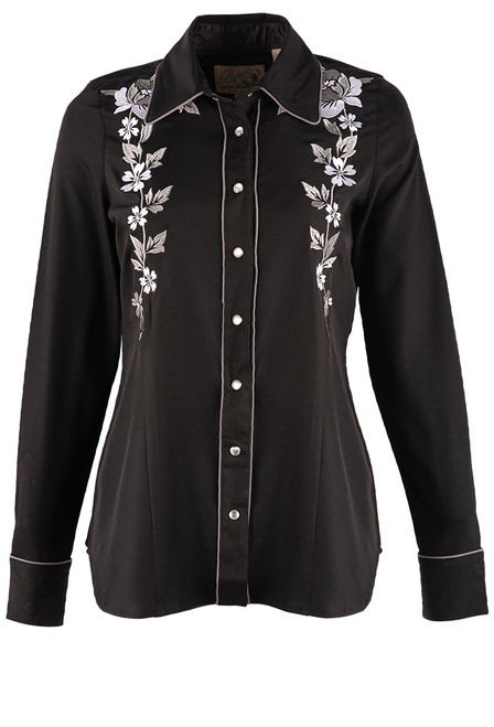 Stetson Apparel Long Sleeve Embroidered Rose Western Shirt - Front