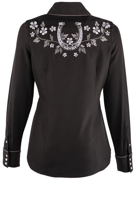 Stetson Apparel Long Sleeve Embroidered Rose Western Shirt - Back