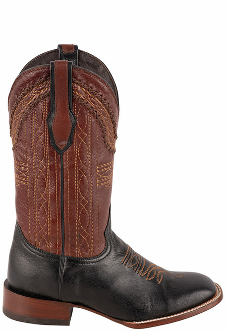 Stetson Men's Altan Black and Brown Goat Boots - Side