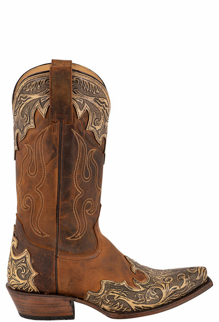 Stetson Men's Adam Oily Brown Hand Tooled Boots - Side