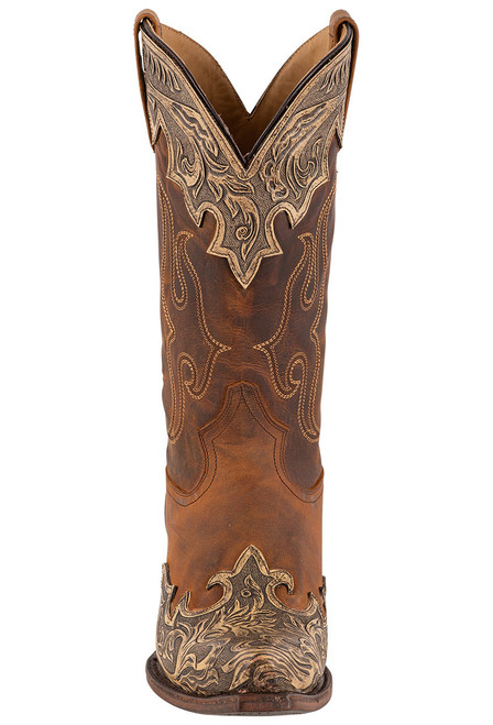 Stetson Men's Adam Oily Brown Hand Tooled Boots - Front