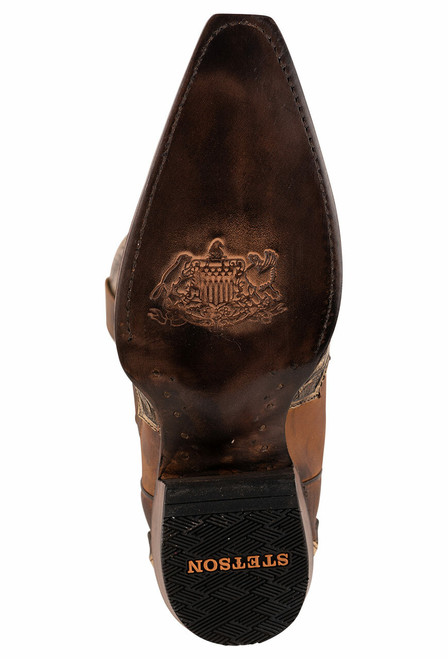 Stetson Men's Adam Oily Brown Hand Tooled Boots - Sole