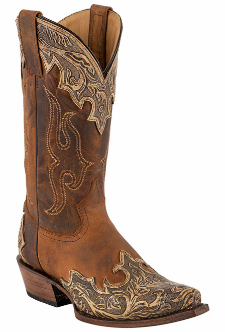 Stetson Men's Adam Oily Brown Hand Tooled Boots