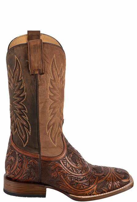 Stetson Men's Louis Oily Brown Hand Tooled Boots - Side