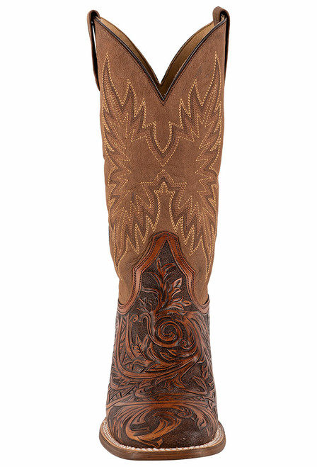 Stetson Men's Louis Oily Brown Hand Tooled Boots - Front