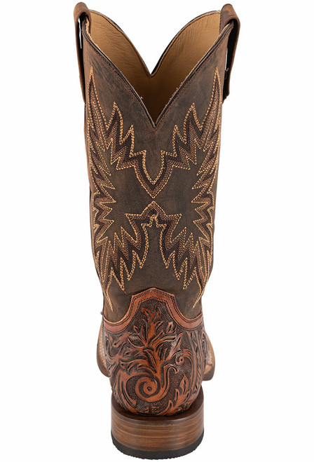 Stetson Men's Louis Oily Brown Hand Tooled Boots - Back