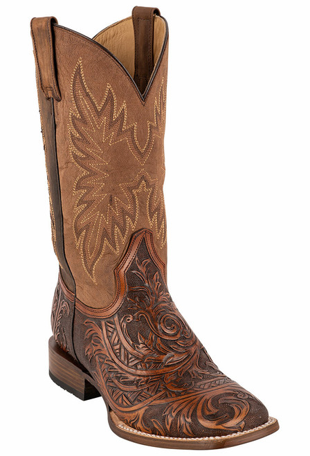 Stetson Men's Louis Oily Brown Hand Tooled Boots
