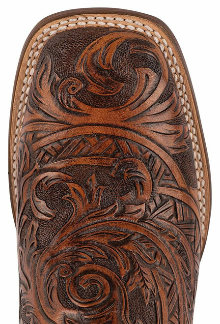 Stetson Men's Louis Oily Brown Hand Tooled Boots - Toe