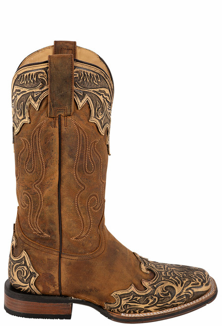 Stetson Men's Isaac Oily Brown Hand Tooled Wing Tip Boots - Side