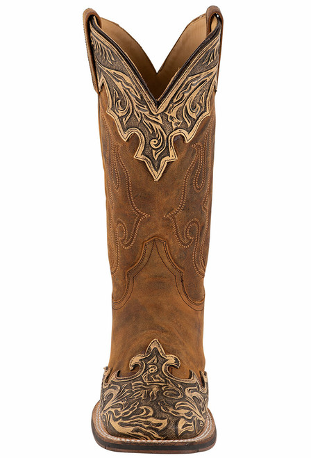 Stetson Men's Isaac Oily Brown Hand Tooled Wing Tip Boots - Front