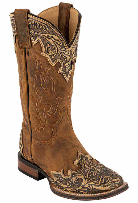 Stetson Men's Isaac Oily Brown Hand Tooled Wing Tip Boots