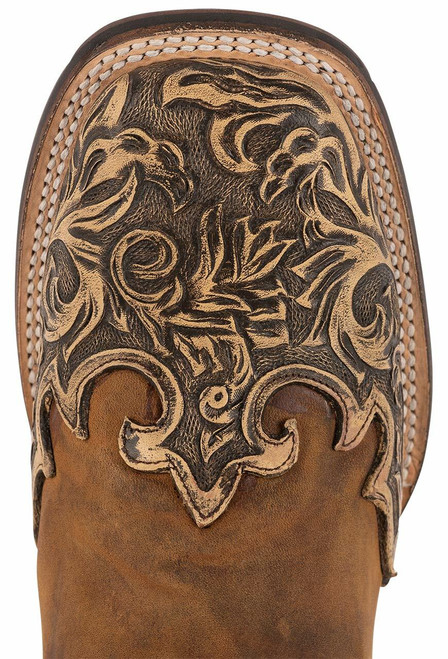 Stetson Men's Isaac Oily Brown Hand Tooled Wing Tip Boots - Toe