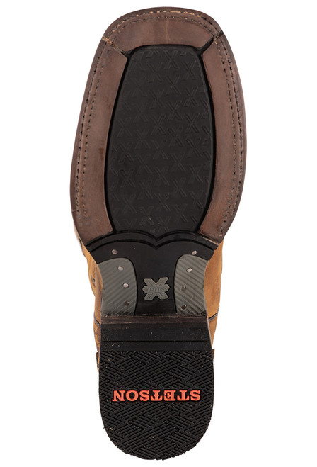 Stetson Men's Isaac Oily Brown Hand Tooled Wing Tip Boots - Sole
