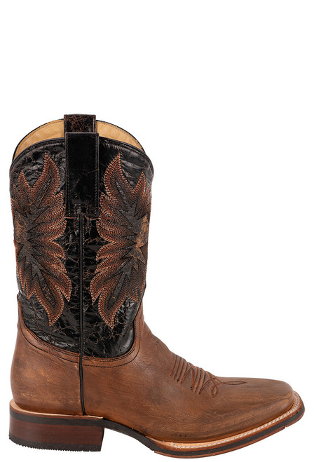 Stetson Men's Holliday Distressed Brown and Black Boots - Side