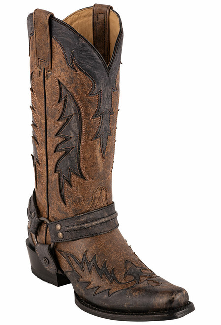 Stetson Men's Lawman Brown Harness Wingtip Boots - Angle