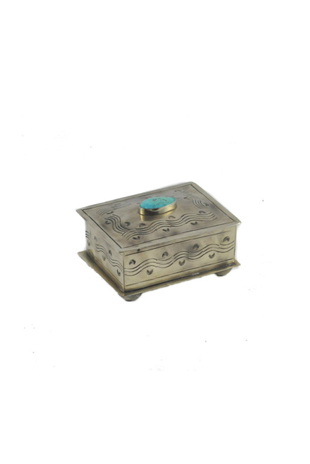 J. Alexander Small Stamped Silver with Turquoise Box-Front